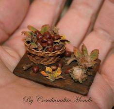 Chestnut basket. Miniature handmade food scale 1/12