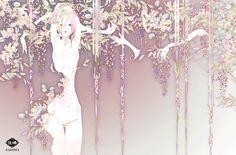 "Art by Kashima. ""wisteria"" 「藤」"
