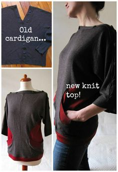 ReFab Diaries: Upcycle: Too-small cardigan into new knit wonder!