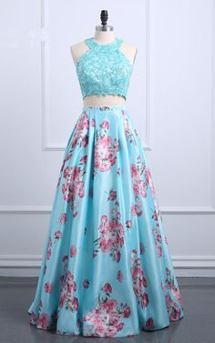 Blue Floral Print Satin Sweep Train Sleeveless Floor Length Lace Appliques Prom Dress from floralprintdress Floral Prom Dresses, Indian Gowns Dresses, Cute Prom Dresses, Indian Fashion Dresses, Homecoming Dresses, Pretty Dresses, Beautiful Dresses, Evening Dresses, Formal Dresses