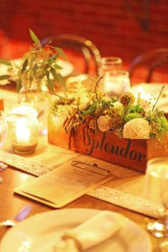 Centrepieces with meaningful words instead of numbers