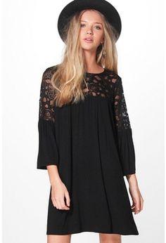 Jinny Lace Insert Swing Dress