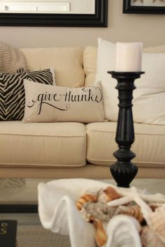 Give Thanks Pillow | Starfish Cottage
