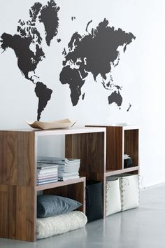 Ferm LIVING World Map wall decal. Designs interior wall decor with a graphic touch World Map Sticker, World Map Wall Decal, Wall Maps, Retro Home Decor, My New Room, Decoration, My Dream Home, Sweet Home, Room Decor