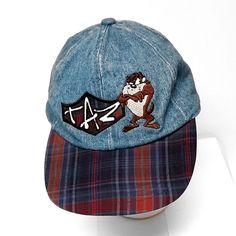 Blue Denim Taz Tasmanian Devil Baseball Cap Plaid Bill Elastic Back Looney Tunes #LooneyTunes #BaseballCap