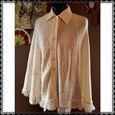 "GONE 4/15 Creamy Knit Cape Blanket your body in this beautiful knit cape with bow accents and tasseled bottom.  Holes for your hands, button up as high or low as you want.  OSFM L 29"" B 50"" buttoned. Cuddle Knit Sweaters Shrugs & Ponchos"