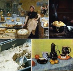 The Cheese Vendor by Edouard-Jean Dambourgez / Cheese Souffle / French-pressed Coffee Ice Cream / Blue Enamel Coffeepot, Earthenware and Fruit by Vincent van Gogh