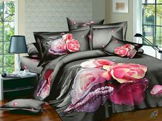 New Arrival Beautiful Pink Roses and Pearls Print 4 Piece Bedding Sets inn Bed Comforter Sets, 3d Bedding Sets, Bedding Sets Online, Bed Sets, Beautiful Bedding Sets, Restoration Hardware Bedding, Beautiful Pink Roses, Pink Bedrooms, Bed Styling