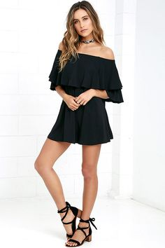 With your favorite heels below and the Riches and Regalia Black Off-the-Shoulder Shift Dress on top, you'll be simply irresistible! An elastic off-the-shoulder neckline leads into short sleeves and a fluttering tier. Shift bodice falls to a flattering fit.