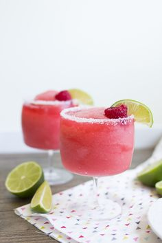 Recipe for Frozen Raspberry Rose Margaritas #cocktail #cocktails #recipes