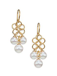 Majorica - 7MM-8MM White Pearl Mesh Drop Earrings