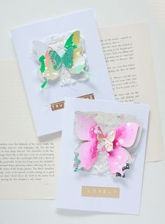 Layered butterfly cards by Kim Stewart for Maggie Holmes design team. Crate paper