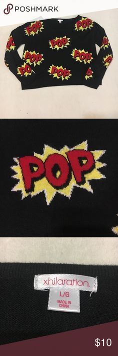 """Pop Art - Inspired Sweater from Target NWOT Awesome Pop Art - Inspired Sweater from Target. NWOT. Looks adorable with skinny jeans and ankle boots. 22 1/2"""" from armpit to armpit and 21"""" long. 100% Acrylic, very soft. Machine wash and dry. Xhilaration Sweaters Crew & Scoop Necks"""