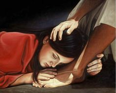 Holy Week: Mary of Bethany anoints the feet of Jesus. This was the Gospel reading today. The extravagant worship and love in this story make it my all time favorite! Arte Lds, Mary Of Bethany, Image Jesus, Alabaster Box, Images Instagram, Thank You Jesus, Mary Magdalene, Holy Week, Jesus Pictures