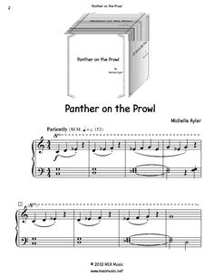 Panther on the Prowl Piano Sheet Music Solo.  First page sample of a composition written for piano solo. This piece is for beginning piano students. Great for students that like to express themselves through music. Use this sheet music for piano recitals, lessons, and more.  A level 3A piano music sheet in the key of C minor. Get a printable download for only $1.99. Or order traditional sheet music for delivery. Only $3.99.