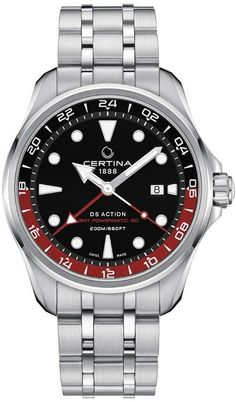 Certina Watch DS Action GMT Powermatic 80 Watch available to buy online from with free UK delivery. 316l Stainless Steel, Stainless Steel Bracelet, Casual Watches, Watches For Men, Wrist Watches, Best Watch Brands, Swiss Made Watches, Mechanical Watch, Seiko