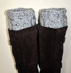 Boot Cuffs Socks Leg Warmers Boot Tops PDF PATTERN DIY Grey Marble Gray Cozy Forest Nature Knitt Cabled. $4.99, via Etsy.
