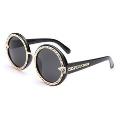 Stylish Hollow Out Alloy Embellished Black Frame Sunglasses For Women