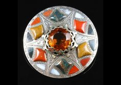ANTIQUE SILVER SCOTTISH AGATE BROOCH  BEAUTIFUL PLAID AGATES LARGE BROOCH