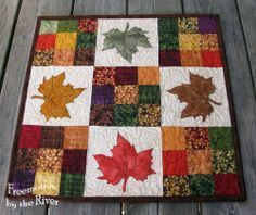 Maple Leaves Table Topper from Modern 9 Patch quilt pattern which includes applique templates for 4 different patterns for table runner or table toppers. Patchwork Quilting, Applique Quilts, 9 Patch Quilt, Halloween Quilts, Quilted Table Toppers, Quilted Table Runners, Burlap Table Runners, Quilting Projects, Quilting Designs