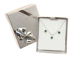 Vintage 925 Sterling Silver Women Solitaire Earrings + Pendant with Emerald - 45cm*3mm*3mm Illusio. $62.99