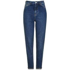 TopShop Moto Dark Blue Mom Jeans ($70) ❤ liked on Polyvore featuring jeans, pants, bottoms, jeans bf, high rise jeans, high waisted jeans, blue jeans, blue high waisted jeans and dark blue jeans