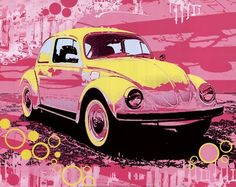 Vintage Beetle, Art Print by Michael Cheung