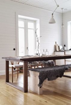 my scandinavian home: The beautiful home of a Swedish interior stylist Dining Room Design, Dining Area, Dining Table, Ikea Table, Table Bench, Wood Table, Ikea Dining, Rustic Table, Diy Table