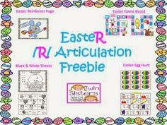 Twin Sisters Speech & Language Therapy LLC: FREE Easter- Themed /R/ Articulation Activities & Game board!