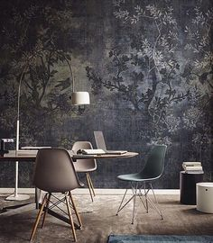 Stunning mural MIDSUMMER NIGHT by Lorenzo de Grandis for Wall & Deco Italy. Available in three wonderful colors. #wallpaper #tapete #interior