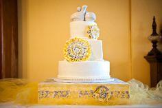 My wedding cake! yellow and gray