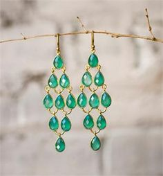 LARGE GREEN ONYX CHANDALIER EARRINGS by OAS Green onyx. Its lush green color resembles the beauty of an emerald, catching light and flashing in many verdant shades. Which dress will you pair them with?