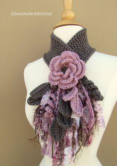 Dusty Rose Flower Scarflette by gsakowskidesigns on Etsy Crochet Flower Scarf, Freeform Crochet, Crochet Scarves, Irish Crochet, Crochet Shawl, Crochet Clothes, Crochet Flowers, Crochet Stitches, Knit Crochet