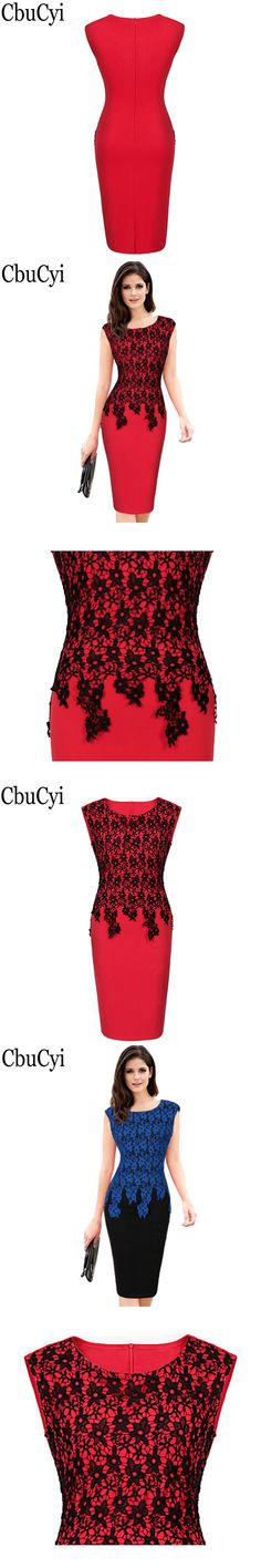 CbuCyi Womens Elegant Vintage Floral Crochet Charming Pinup Casual Work Office Party Evening Sheath Bodycon Pencil Dress 0118