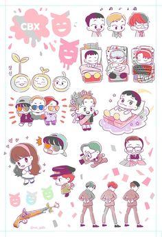 Exo Kokobop, Kpop Exo, Exo Stickers, Cute Stickers, Nct Logo, Exo Anime, Exo Fan Art, Kawaii Chibi, Bts Chibi