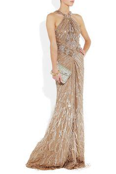 Roberto Cavalli dress, Jimmy Choo clutch