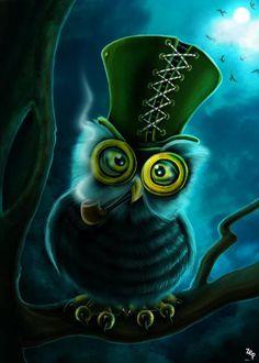 owl in tophat by Zeynep Aktaş