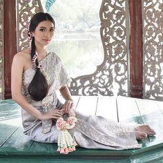 Beautiful Silver Traditional Thai Dress