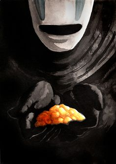 prince-of-diamonds:  ghiblijam:  No-face is my favourite character! He's not evil, you guys, he's justcomplicated.  are those tater tots or puffy cheetos  ^ Best commentary yet! PS - cheetos.