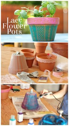 DIY Airbrushed Lacy Flower Pots