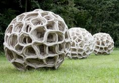 Three Giant Seed Pods by Judy Tadman Textile Artist
