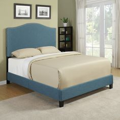 Portfolio Nicci Caribbean Blue Linen Queen Size Platform Bed