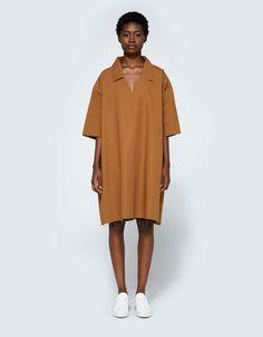 Collar Dress in Tan