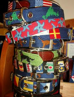Preppy needle point dog collars