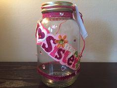 Sister fund jar, Mason Jar, Money Jar, Treasure Jar, Memory Jar, Sister Savings jar, Coin jar, Savings jar, I Love My Sister, Piggy Bank by CrystalsMarvels on Etsy