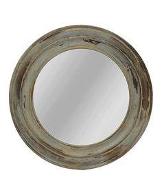 Look at this #zulilyfind! Distressed Round Mirror #zulilyfinds