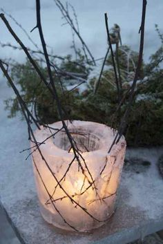 Ice lantern for winter....these are cool!