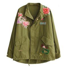 Elegante ZA Rosas Floral Padrão Animal do Bordado Remendo Rebite Projetos Jaqueta Militar Do Exército Verde Mulheres Na Moda Tops Brasão Casacos