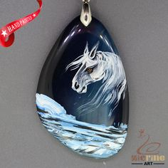 Hand Painted Horse Pendant For Necklace Gemstone With Silver Bail   ZL807361 #ZL #Pendant