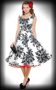 Vintage Swing Kleid Paris mit Blumenmuster, schwarz weiß. Ein Traum mit Rosen